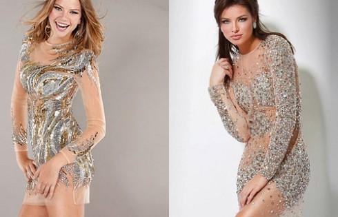 короткое выпускное платье из прозрачной ткани