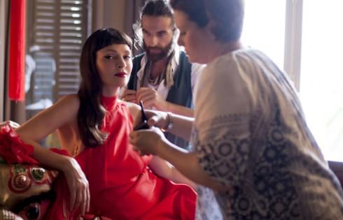 в процессе съемки для календаря Campari 2014