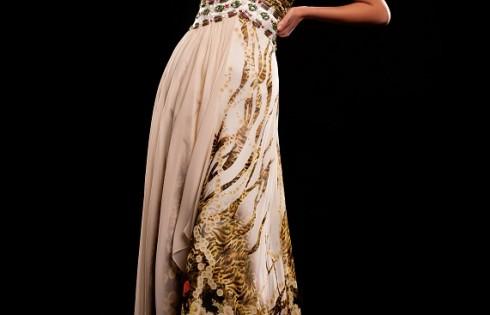 цветное длинное выпускное платье