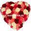 букет валентинка из разноцветных роз