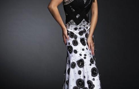 черно-белое выпускное платье