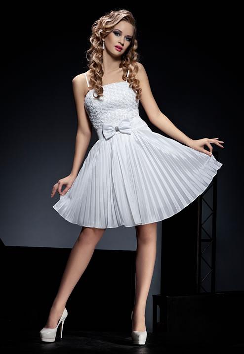 белое короткое выпускное платье