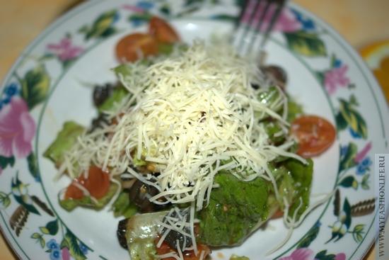 Рецепт салата романо  с черри и маслинами