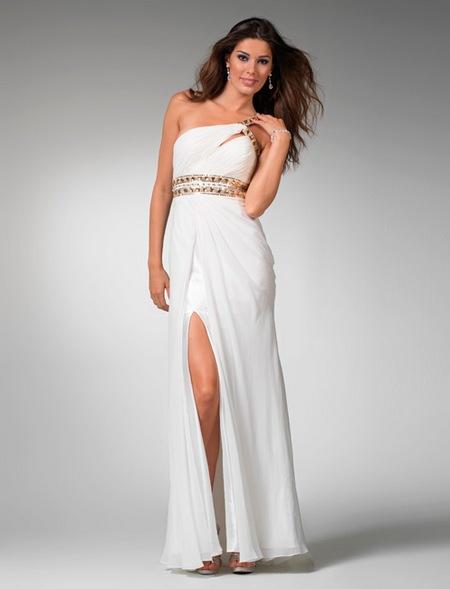белое выпускное платье на одно плечо