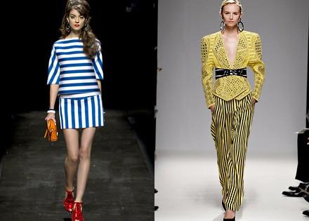 полосатые наряды Moschino и Balmain лето 2013